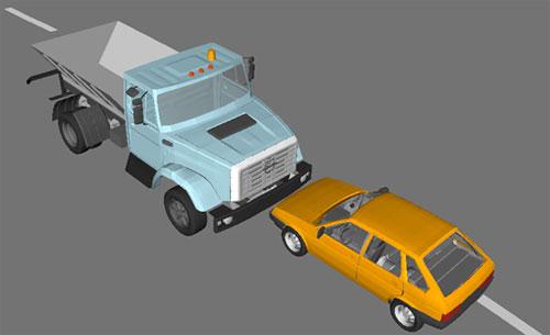Конечно-элементное моделирование лобового столкновения автомобилей ВАЗ-21093 и ЗИЛ-433362