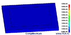 Polyurethane mat and sheet of paper. Contours of z-axis deformations. Click to view animation
