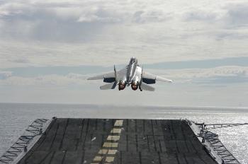 Испытания МиГ-29К/КУБ на крейсере «Викрамадитья»