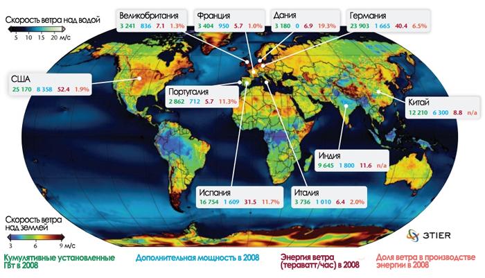 Энергия ветра на мировой карте