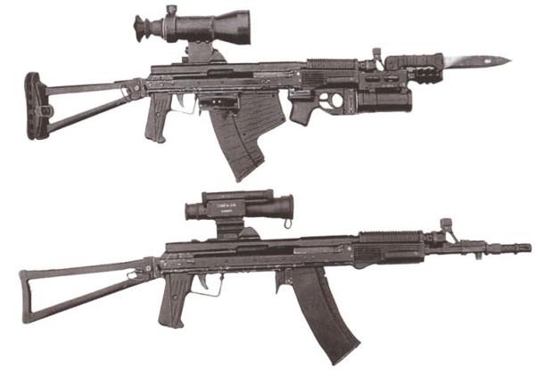 АСМ-ДТ: верхний с магазином под подводный патрон и гранатометом, нижний с магазином под обычный патрон
