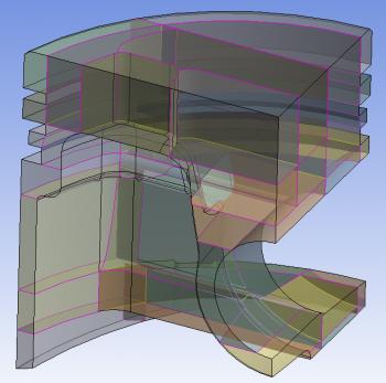 ANSYS 14.5 Декомпозиция геометрической модели поршня с помощью операции Slice