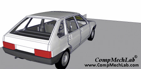 FE modeling VAZ-2109 crash test. Click to view