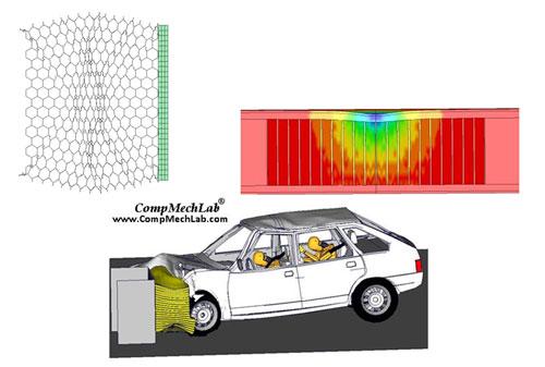 •КЭ моделирование устойчивости и динамического поведения, оценка энергопоглощающих свойств многослойных панелей с сотовым заполнителем под действием различных нагрузок